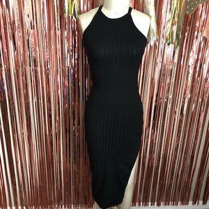 Black Sheer Knit Slit Dress